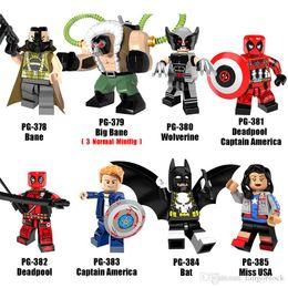 Wholesale Building Big - Mix Super Heroes Minifig Big Bane Deadpool Captain America Miss USA Wolverine Bat Figure PG8093 Mini Building Blocks Figures