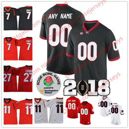 Wholesale Roses Names - Custom Georgia Bulldogs College Football white red black Personalized Rose Bowl Stitched Any Name Number Swift Fromm Michel Chubb Jerseys