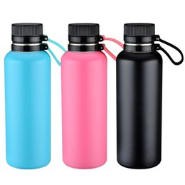 Wholesale hot cold water color - 500ml Double walls stainless steel Mugs Vacuum insulated water bottle with ring and lid keep hot or cold for 24hrs