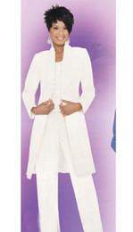 Maglia chiffona navy online-Sexy tre pezzi in chiffon bianco, cappotto montato mamma, gilet a maniche lunghe, pantaloni tipo gilet, cerniera a piedi nudi, foglia di loto, posta a buon mercato