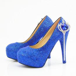 Мода ручной работы Синий Корона кисточкой Кристалл платформа высокие каблуки свадебные туфли свадебные круглый носок высокие каблуки сексуальная партия Пром обувь плюс размер от