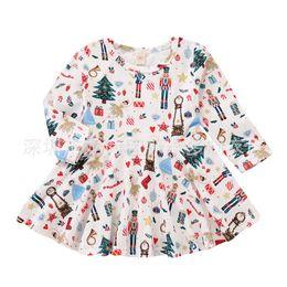 rapunzel tutu kostüm Rabatt Weihnachtsgeschenk Niedliches Kleinkind-Baby-Mädchen-Weihnachtsmann-Rock weißes printe Kleid Long-Sleeves Rock Outfits Set