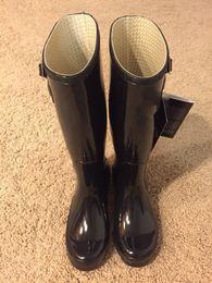 Wholesale Tall Waterproof Boots Women - fashion Original men women s tall Knee-high Snow rain boots low heels knee high waterproof welly boots rainboots water shoes for adult