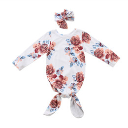 Wholesale Kids Sleeping Bags Boys - Baby kids girl boy clothes round neck long sleeve Floral print Newborn Sleeping Bag Swaddle Wrap Bow Headband 2pc cotton outfit
