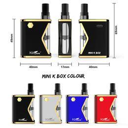 Wholesale mini k - Authentic Kangvape Mini K Vape Mods Kit E Cigarettes Box Mod 400mAh Variable Voltage VV Battery 0.5ml Ceramic Coil Atomizer Vape Cartridges