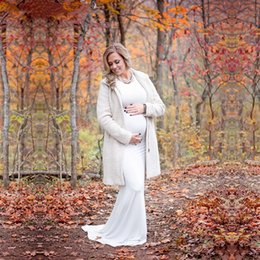 8b051071cd10f White Maternity Dress for Photo Shoot Maternity Gown Baby Shower Dress Long  Sleeve Maxi Fitted Maternity Dress mermaid baby shower outlet