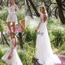 Wholesale long sleeve drop back dress - Limor Rosen 2018 Long Sleeve Country Wedding Dresses with Detachable Train Modest Backless Two in One Short Bohemian Beach Wedding Gown