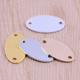 Wholesale Handmade Stamped Jewelry - Stamping Tags charms 4 colors Oval Stamping Tags connectors charms for necklace pendants jewelry handmade DIY parts findings wholesales