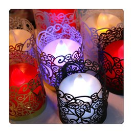 Wholesale silver candle holders wholesale - Beautiful and Colorful Tea Light Votive Wraps Flameless For Flickering LED Battery Tealight Candles Holders Hot Sale
