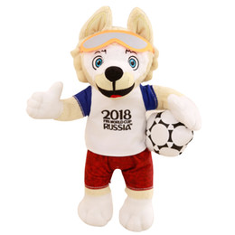 Wholesale movie cups - Zabivaka Plush Toy Stuffed World Cup 2018 Russia Mascot Stuffed Soft Football Game The Wolf Animals Toy 25cm 35cm