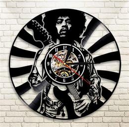 2020 decoración casera artesanía hecha a mano Jimi Hendrix Reloj de Pared de Vinilo Sala de estar Relojes de Dormitorio Retro Nostalgia Negro Moderno Arte Hecho A Mano Regalo Decoración 63qm ff decoración casera artesanía hecha a mano baratos