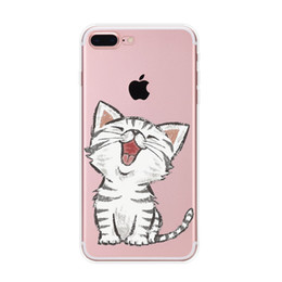 Cassa cute iphone paracolpi online-Per iPhone 7 plus / 8plus Cute Cat Cartoon Case, trasparente paraurti in TPU resistente all'acqua trasparente resistente ai graffi