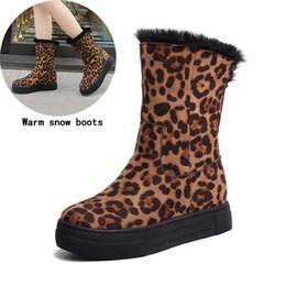 Stivali da neve invernali di qualità superiore Stivali a metà polpaccio donna Scarpe calde da donna di moda leopardo Chaussure Woman Botas Footwear 2018 # 36 da