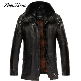 Wholesale Mens Leather Top Coat - Wholesale- XL-7XL Casual Solid Fur Collar Leather Jacket Mens Coat Warm 2017 Winter Jacket Men Leather Jackets Male Plus Size Top Quality