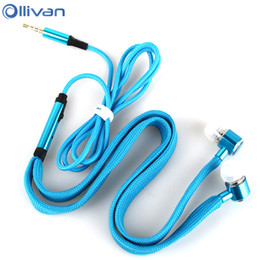 Wholesale Shoelace Earphones - Ollivan Shoelaces Earphone Stereo Metal Bass Earbuds Headsets Music Earpieces with Microphone for iPhone Xiaomi Samsung Sport