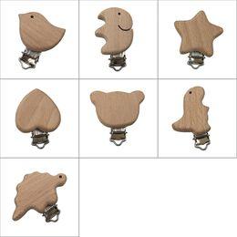 Accesorios de soporte de madera online-Chupetes de Madera Natural Bebé Chupete Clip Pájaro Corazón Oso Forma Clips De Madera Chupete Infantil Dummy Cierres Accesorios Holder