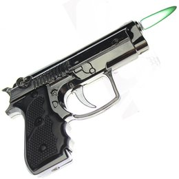 Wholesale Free Toy Guns - Windproof Lighter LED Lighting Inflatable Metal Windproof Toy Gun Lighter Free Shipping