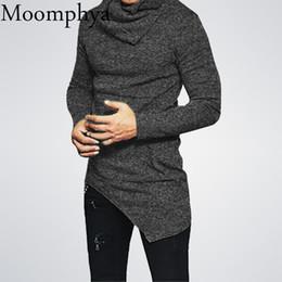 Wholesale Cowl Neck Men - Wholesale-Moomphya 2018 New Men One Pocket Cowl Neck Asymmetrical Hem Men's Sweatshirt Stretchy Long sleeve Slim Fit Hip Hop Men Hoodies