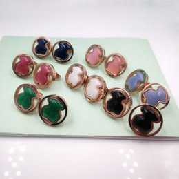 Wholesale mixed gems - Wedding Party Jewelry Mixed 7 colors women jewelry never fade colors 15mm natural round gems stones agate stud earrings bears trendy style