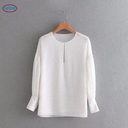 Wholesale Puff Sleeved Blouse - NFIVE Brand 2018 Woman Solid Loose Shirts New Fashion European Puff Sleeved Blouse Quality O-neck Tie Comfortable Casual Shirt