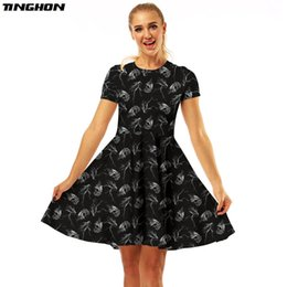 red combination dresses Coupons - TINGHON Skull Splash ink Van Gogh Triangle Combination 3D Print Women Summer Dress 2018 New Sexy Dress O-neck Pleated Dresses