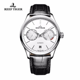Элегантные автоматические мужские часы онлайн-Reef Tiger/RT  Casual Elegant Watches Men Sports Waterproof Date Steel Power Reserve Automatic Watch Clock Men