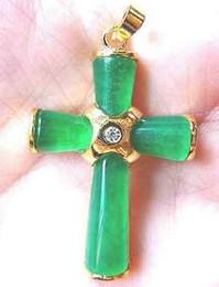 """Cruz verde jade collar colgante online-Rare Asian Charm Green Jade Cross Necklace Pendant 17 """"AAAAR"""