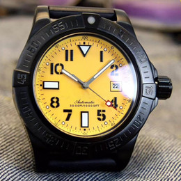 Wholesale mechanical skeleton watch movement - High Quality Bre automatic movement MONTBRILLANT watch Men Black Dial Analog Black Yellow face Skeleton Rubber Band 1884 A24322 watch Monor
