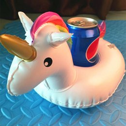 Wholesale Inflatable Christmas - Inflatable Unicorn Drink Floats Pool Party Mini Unicorn Cup Holder Beer Coaster Pool Float Cup Seat Party Supplies DDA141