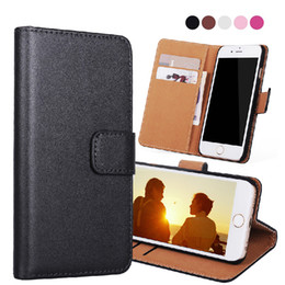 Wholesale card stand holder - For iphone X 7 Plus S8 S9 Real Genuine Leather Wallet Credit Card Holder Stand Case Cover For iphone 8 5 6S