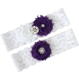 Wholesale Vintage Wedding Garter Sets - Vintage Bridal Garters Lace White with Purple Flowers and Pearls Wedding Garter Belt Set Keepsake and Toss Away Leg Garter Free Shipping