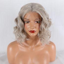 Cabelo falso branco on-line-Rendas Frente Perucas Onda de Água cinza mix branco 14 polegadas resistente ao calor sintético cabelo falso Perucas Dianteiras Do Laço para as mulheres perucas de cabelo encaracolado kabell
