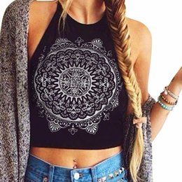 Wholesale Cheap Printed Blouses - Cheap sexy crop top Women's Mandala Print Sleeveless Halter Neck Tank Cultivation Tops Vest Blouse Shirt