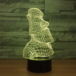 Wholesale mushroom stone - Golem Stone Man 3D Optical Illusion Lamp Night Light DC 5V USB Powered AA Battery Wholesale Dropshipping Free Shippin