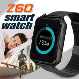 Wholesale Tf Card Camera - Bluetooth Smart Watch Z60 Smart Watch Stainless Steel Wireless Smart Watches Support TF SIM Card For Android IOS With Retail Package