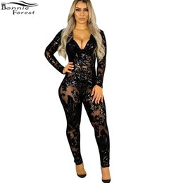 Wholesale Overall Ladies - Bonnie Forest Sexy Sequins Deep V Neck Jumpsuit Rompers Ladies Skinny Long Sleeve Party Club Women Perspective Jumpsuit Overalls
