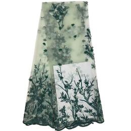 2019 ткань для пейсли 2018 роскошный синий Африканский вышивка 3D цветок тюль кружевной ткани высокого качества французский сетки кружевной ткани для свадьбы F867-1