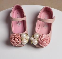 Wholesale korean winter shoes - Girl Princess Flower Girls Shoes Spring Flowel Pearl Soft-soled Children Shoeses Korean Cute Kids Flat Shoes