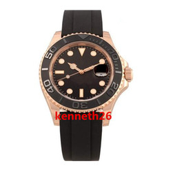 Wholesale mens gold box bracelet - AAA Luxury Wristwatch Black Rubber Bracelet 116655 Rose Gold 40mm Box And Papers Automatic Mens Watch Watches