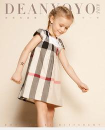 Nuevos vestidos de moda online-2016 Nuevo 2-6T verano ropa de las muchachas de moda a cuadros vestidos de los cabritos para las niñas collar del turndown estilo de Inglaterra muchachas del niño vestidos
