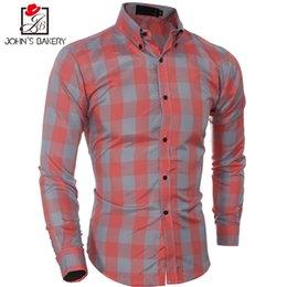 Wholesale Male Shirt Fashion Models - 2017 New Fashion Brand Men Shirt Lattice Dress Shirt Long Sleeve Slim Fit Masculina Casual Male Shirts Model White High Quality