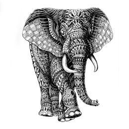 Mighty Elephant God Etiqueta engomada del tatuaje temporal a prueba de agua de alta calidad mecánico elefante falso tatuaje mangas Henna Tatoo desde fabricantes