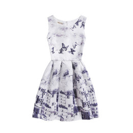 Wholesale European Children Clothes Sizes - Elegant Girls Above Knee A-line Skirt For Children Multi-style Multi-size Fashion Sleeveless Floral Dress Charming Party Clothing