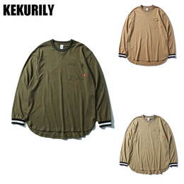 Wholesale Cuff Ribbing - KEKURILY Brand Men's Long T-shirt Fashion High street Casual pocket Soild Color T Shirt Men long sleeve Rib cuff O-neck T-Shirt