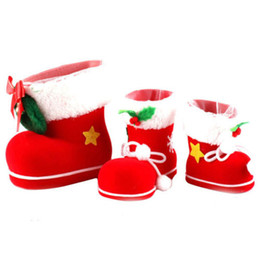 christmas gift boot Coupons - 3 Size Christmas Supplies Flocking Boots Christmas Stockings Creative Gift Socks Candy Box
