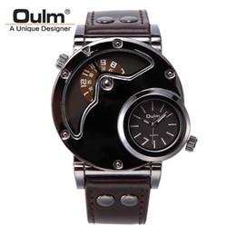 OULM Марка HP9591 мужские часы корпус из нержавеющей стали большое лицо двойные часовые пояса Кожаный ремешок кварцевые часы мужские часы хороший подарок от Поставщики нержавеющая сталь oulm
