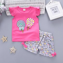 Wholesale infant autumn outfits - Baby Girls Clothing Outfits Sets Fashion Brand Summer Newborn Infant Baby Girls Clothes Casual Sports Brand Printed Tracksuits