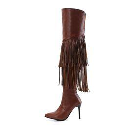 Botas de salto alto com franjas on-line-Mulheres com franjas botas, 2 camadas borlas para saltos altos mocassins com coxa-alta botas de salto alto Para as mulheres botas plus size 35 ~ 43. XZ-093