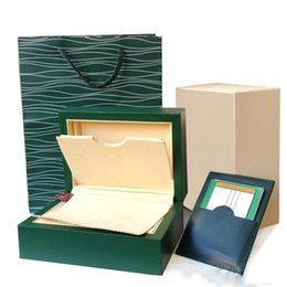 Wholesale paper watch gift box - Super Quality Top Luxury Watch Brand Green Original box Papers Mens Gift Watches Boxes Leather bag Card 0.8KG For Rolex Watch Box