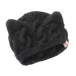 Wholesale Crochet Cat Ears - Women Devil Horns Cat Ear Crochet Braided Knit Ski Wool Hat Cap,Black
